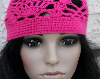 Crocheted Pineapple Beanie Hat. Pink. Lacy.