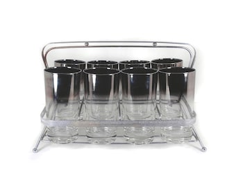 8 Silver Ombre Highball Glasses with Caddy