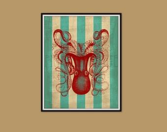 OCTOPUS Art Print, Nautical Wall Art, Beach Cottage Art, Sea, Ocean, 8x10 Print