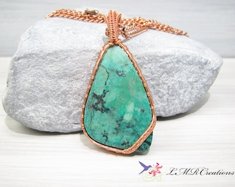 Copper Wire Wrapped Chrysocolla Necklace, Wire Woven Gemstone Pendant, Green and Black Natural Stone Necklace, One Of A Kind