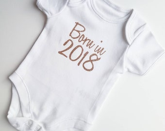 New Baby Glitter Print Vest. Coming Home From Hospital bodysuit. Born in 2018