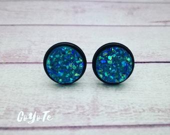 Sparkling earrings, resin cabochon, stud earrings
