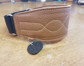 Custom leather martingale greyhound collar - WAVE pattern