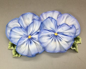 Blue and White Pansy Double Ribbon Flower Applique