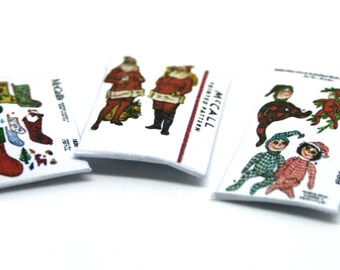 Three Christmas Sewing Patterns Packets Dolls House Miniature