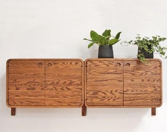 Mid Century Floating Oak Sideboard Cabinets