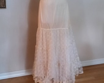 Vintage Half Slip -- Feel like a Princess in a Field of Lace Flowers Floating on Satin