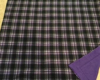 Purple and black Plaid fleece blanket