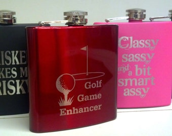 6 oz Stainless Steel Flask, Custom Engraved, Personalize for Great Gifts
