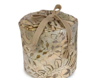 Beige Batik Fabric Spare Toilet Paper Cozy or Cover
