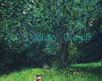 Woodchucks Eating Late-Summer Apples at Whittier Birthplace Signed Art Print by Mark Reusch