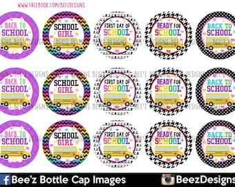 INSTANT DOWNLOAD- School bus, 1inch Bottlecap Images- 4x6 Digital Sheet