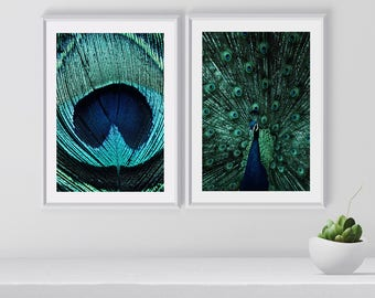 Peacock Wall Art Set, Peacock Feather Prints, Peacock Art Prints, Set Of 2