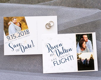destination wedding save the date postcard airplane travel theme