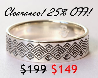 CLEARANCE 25% OFF! Men's Oxidized Wedding Band, Oxidized Ring, Oxidized Silver Ring, Geometric Wedding Band, Men's Wedding Band, Size 9.5