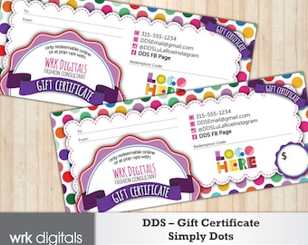 Dot Dot Smile Gift Certificate, Simply Dots Design, Fashion Consultant, Direct Sales, PRINTABLE