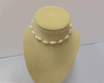 Vintage 14k Gold and Keshi pearl Braccelet