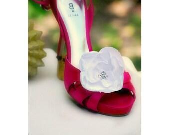 Shoe Clips Pure White. Wedding Ivory Pink Silk Flower & Rhinestone. Dainty Bride Bridal Couture. Wedding Accessory. Fabulous Feminine Bling