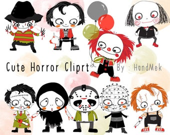Cute Horror set ,Halloween Clipart, Instant Download PNG file - 300 dpi