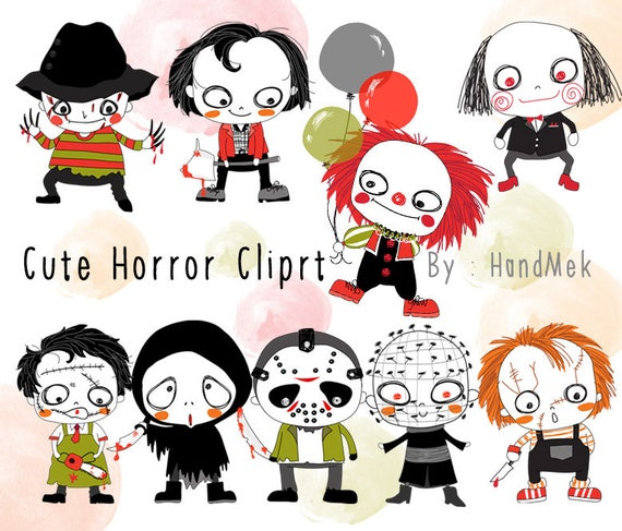 Cute Horror set Halloween Clipart Instant Download PNG file