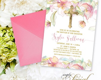 Baptism Invitation - Pink Floral First Holy Communion Blush Boho Personalized Floral Flowers Pink Watercolor Botanical Baptism Party Invite