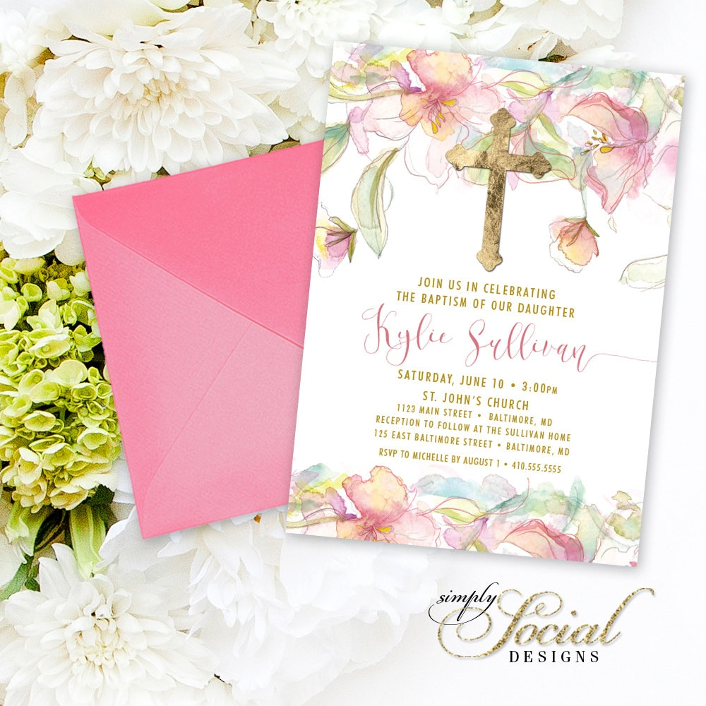 Baptism invitation pink floral first holy communion blush boho baptism invitation pink floral first holy communion blush boho personalized floral flowers pink watercolor botanical baptism party invite kristyandbryce Choice Image