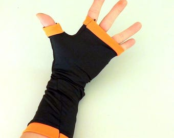 Shiny black and orange fingerless mittens