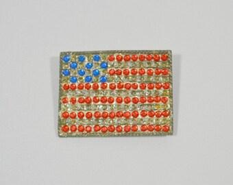 Vintage Patriotic American Flag Rhinestone Brooch/Pin, Unisex Flag Brooch, Patriotic Jewelry, 4th of July