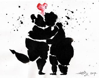 Anniversary painting 8x12in 21x30cm  -A4 canvas sheet - cute couple abstract art