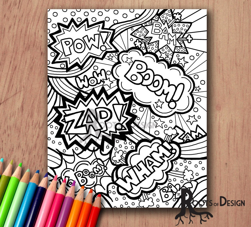 INSTANT DOWNLOAD Coloring Page Comic Book Words/ Pop Art