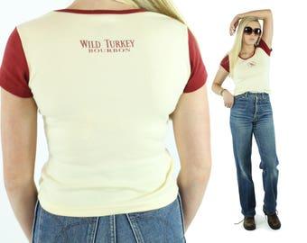Vintage 80s Screen Tee Wild Turkey Bourbon Advertising Short Sleeve T Shirt Top Maroon Knit Top 1980s Small S