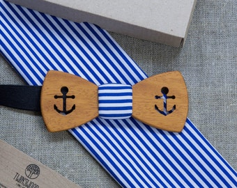 Kusia Wood bowtie  + marine pocket square Any personal engraving wooden bow ties. Men Accessories. 100% hand made. Best xmas / bday gift.