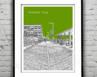 Ventnor City Poster Print Art  NJ Skyline Jersey Shore Version 1