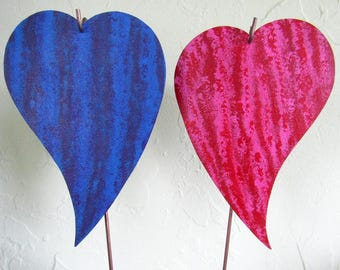 Metal Garden Art Stakes Purple Cobalt Blue Red Pink Hearts Yard Decor Recycled Metal Valentine Wedding Anniversary