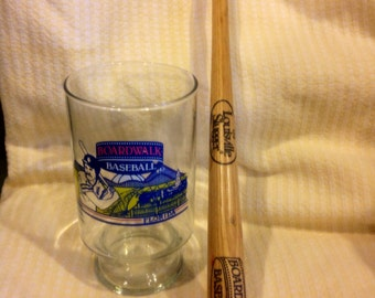 Baseball And Boardwalk Theme Park 24 Oz Glass With Mini Louisville Slugger