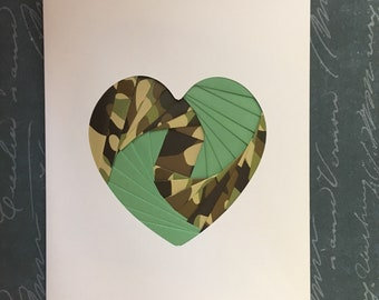 Iris folded heart shape greeting card - green and camouflage paper