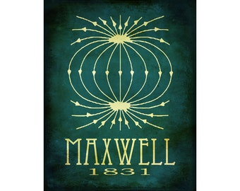 16x20 Science Art Print James Maxwell Steampunk  Rock Star Scientist Poster Geek Scientific Educational Diagram Electromagnetic Physics Mat