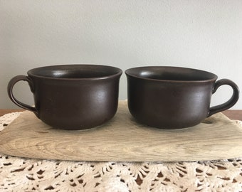 Scandinavian Vintage Höganäs Keramik, Ceramic Coffee Mug, Brown Stoneware Mug, Set of  2, Swedish Design
