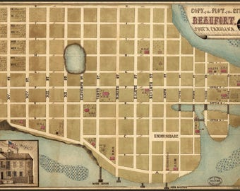 Poster, Many Sizes Available; Map Of Beaufort South Carolina  1860S