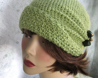 Crochet Pattern Womens FLapper Hat Cloche With Side Pinch Pleats Instant Download