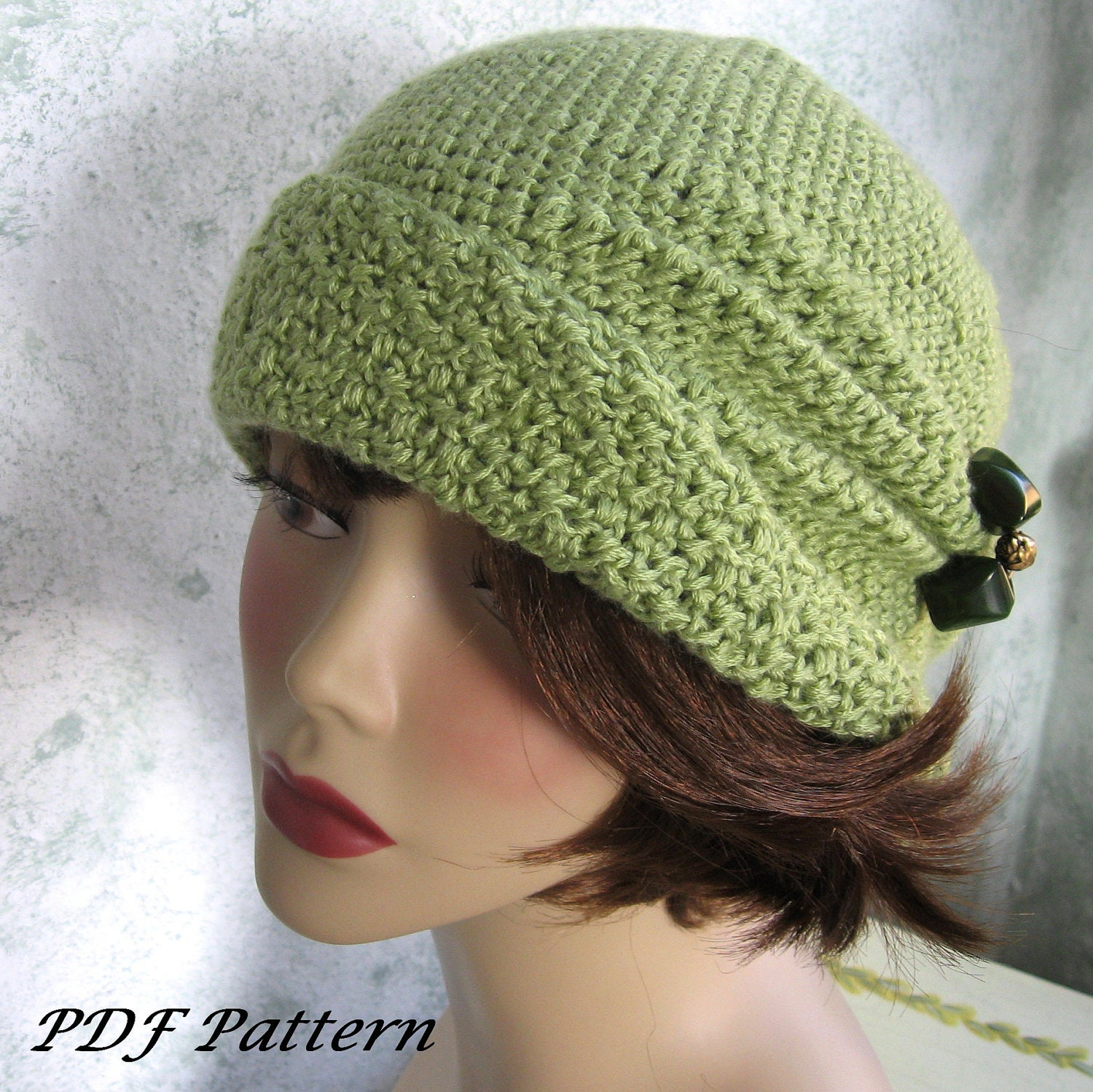 Crochet Pattern Womens FLapper Hat Cloche With Side Pinch