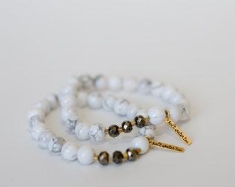 HARD CANDY bracelet in Howlite + Pyrite - gemstone stacking bracelet,
