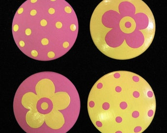 Set of 8 - YELLOW and PINK - Polka Dots & Flowers - Knobs / Pulls