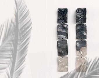Oxidized Silver Statement Earrings, Silver Geometric Earrings, Oxidized Silver Dangle Earrings, Very Long Drop Earrings,Geometric Earrings