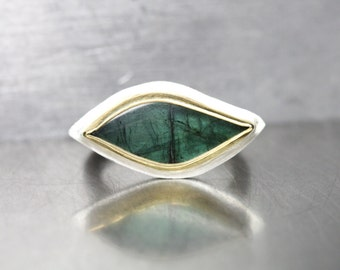Dark Green Tourmaline Protective Eye Ring Silver 22k Yellow Gold Modern Egyptian Inspired Statement Band Unique One Of A Kind Gem - Horus