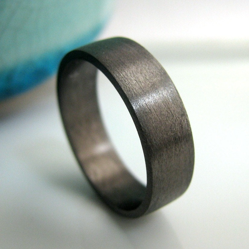 6mm wedding band black gold plated over sterling silver