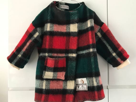 Girls jacket, blanket coat made of a vintage wool tartan blanket or plaid, size 98