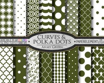 Army Green Polka Dots & Curves Digital Scrapbook Paper - Digital Polka Dots Shapes Backdrop Hearts Background Printable Quatrefoil Pattern