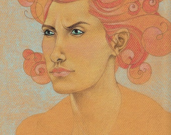Coiling Thoughts - Original Colored Pencil Drawing