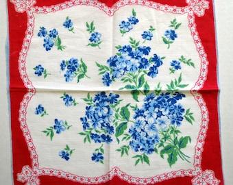 Vintage Hankie, Bouquets of Blue Forget Me Not Flowers, Cotton Handkerchief, Hanky  FS